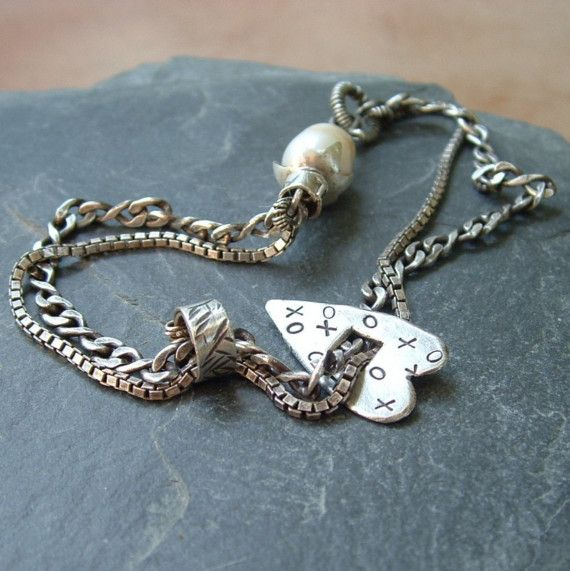 Rustic+Heart+and+Pearl+Collage+Bracelet+by+artdi+on+Etsy