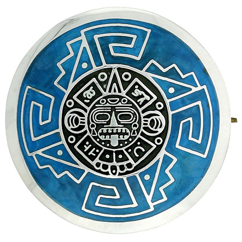 Sterling Silver Aztec Calendar Mandala Brooch Pin Pendant W Blue Enamel Background 1 1 2 Inch See This Great P Arte Azteca Simbolos Aztecas Aztecas Dibujos