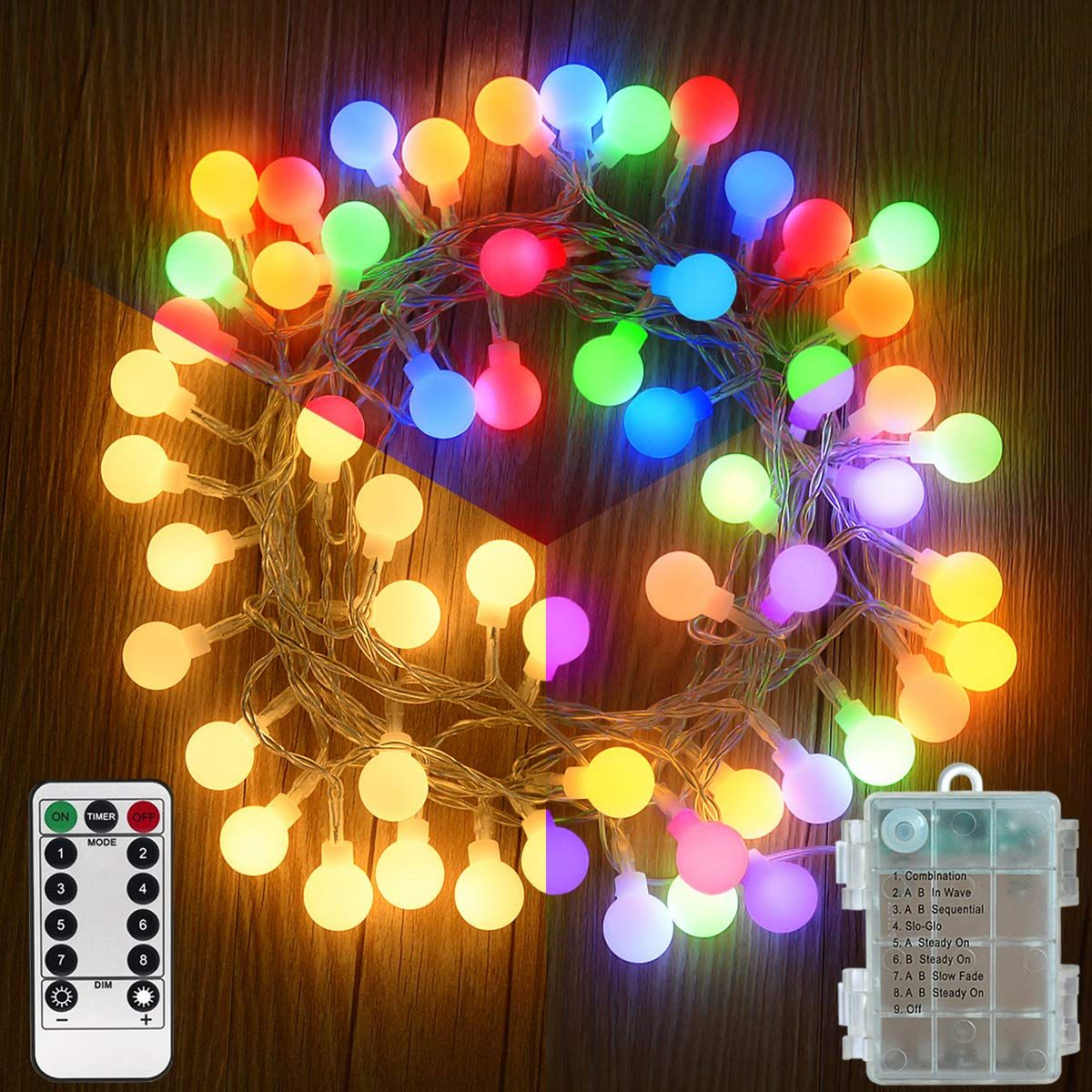 Homeleo 50 Led Color Changing Globe Fairy Lights Battery Operated Outdoor Christmas Lig Outdoor Christmas Lights Color Changing Led Christmas Lights
