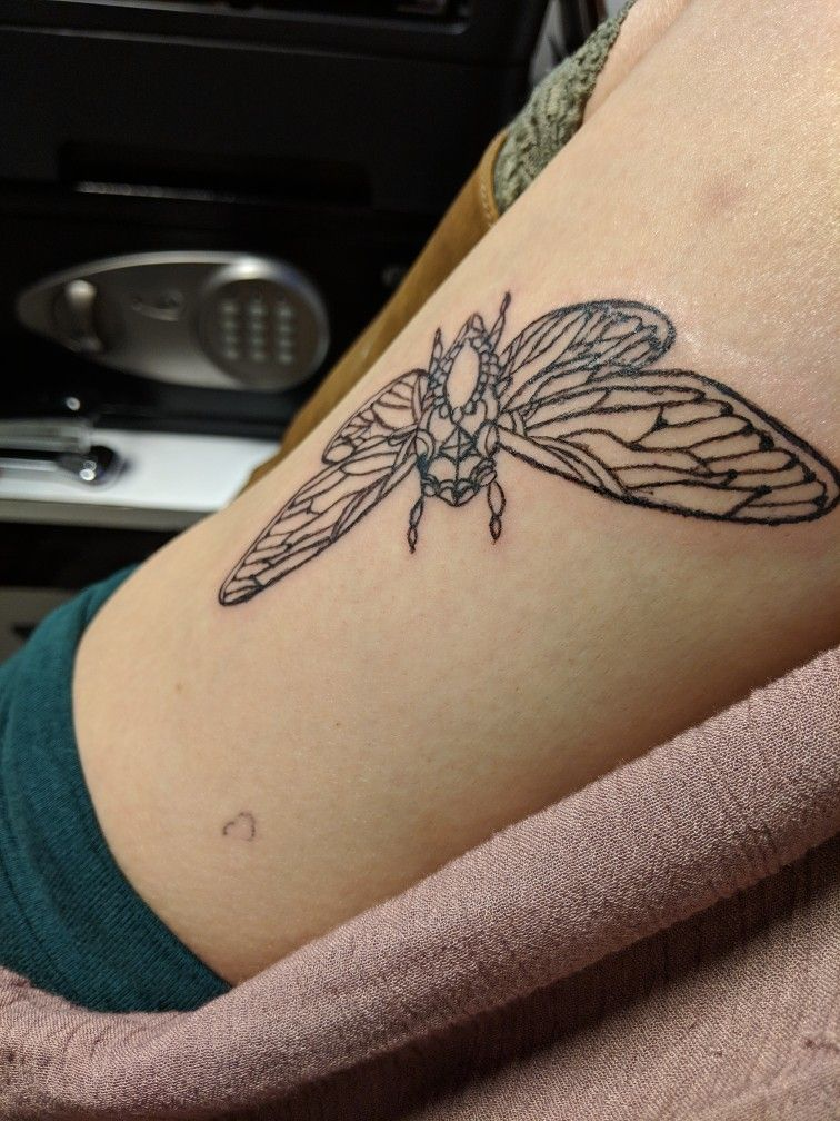 First time tattooing myself finished outline color to come
