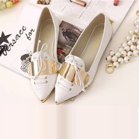 Metal Decorations Lace UP Pointed Toe White Flats