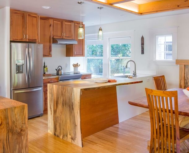 Lovely Reclaimed Slab Countertops And Kitchen Cabinetry Pacific Madrone Custom  Cabinets, Portland Salvage Beech Tree Was