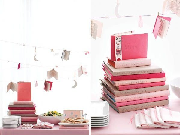Books as pedestals for food. (Covered in paper to match)