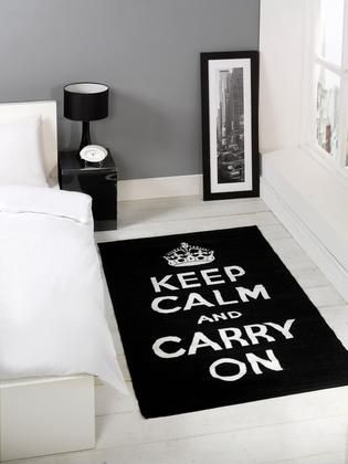 Matrix Themes Keep Calm & Carry On Modern Rug - Black, White