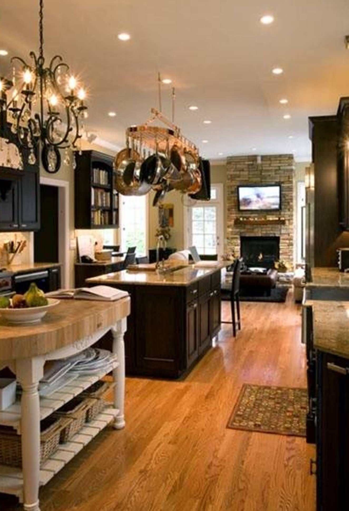kitchen design with double island, seating area and open kitchen
