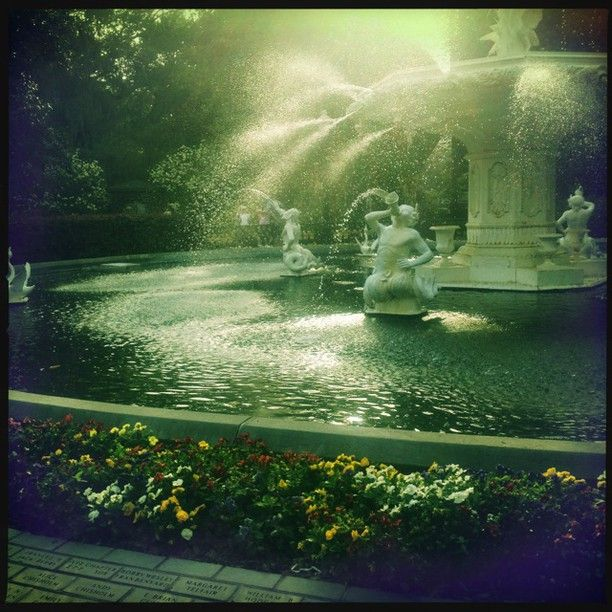 Water Spraying From The Forsyth Park Fountain In The