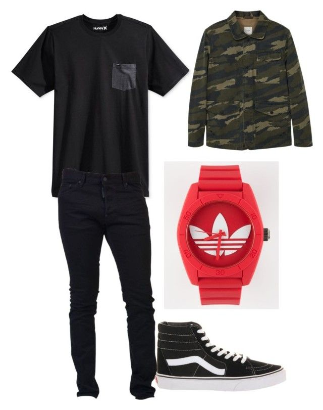 """""""My future man"""" by chloerubinstein on Polyvore featuring Hurley, Dsquared2, Vans, adidas, MANGO, men's fashion and menswear"""
