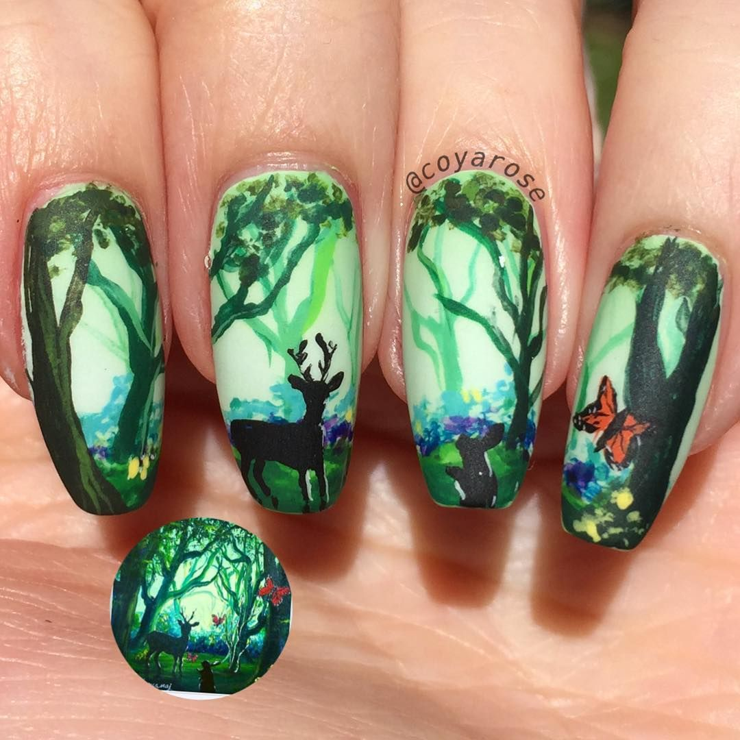 Spring forest deer nails nail art | Nail Art by @coyarose ...