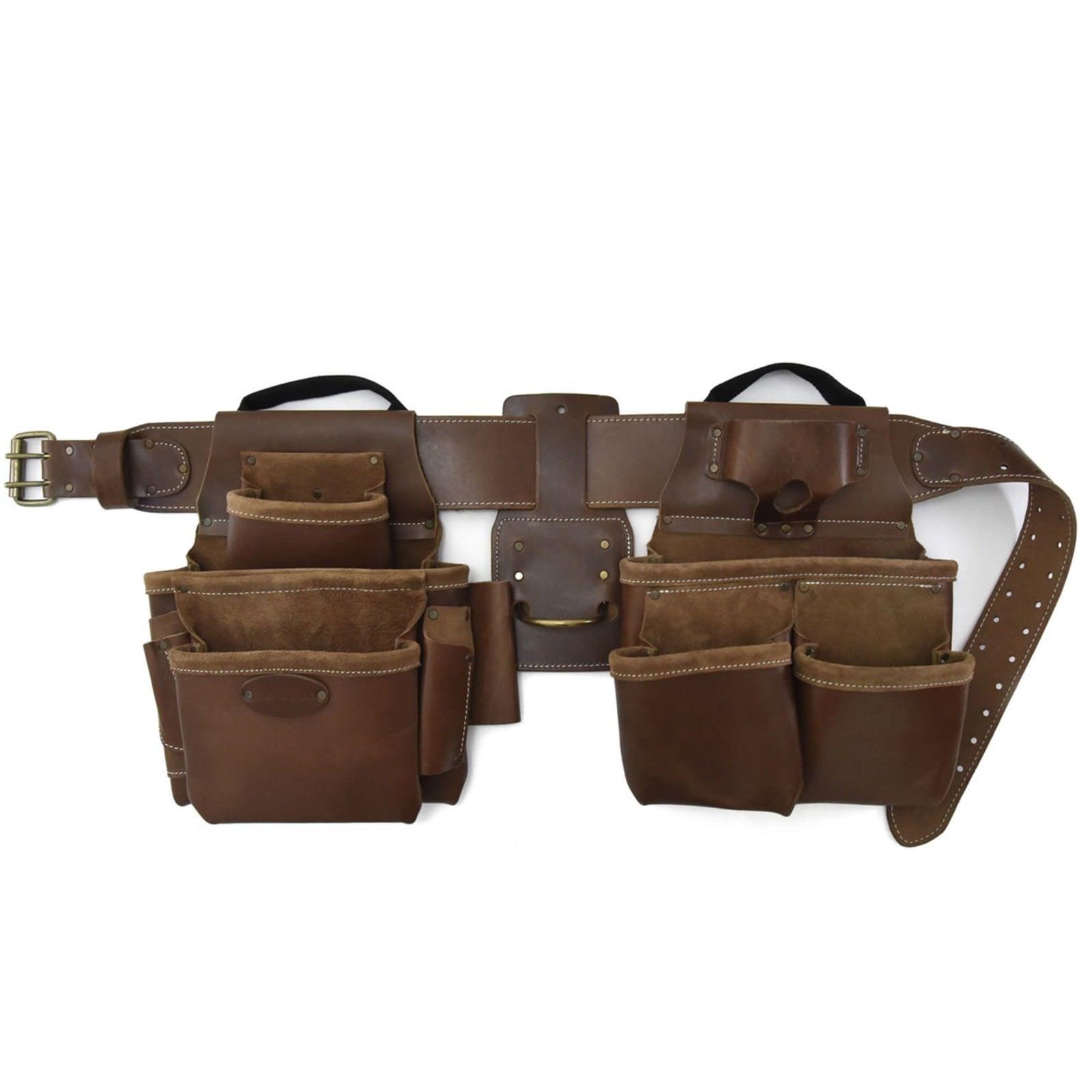 Leather Tool Belt Pouch System Electrician Bag 17 Pocket Framer ...