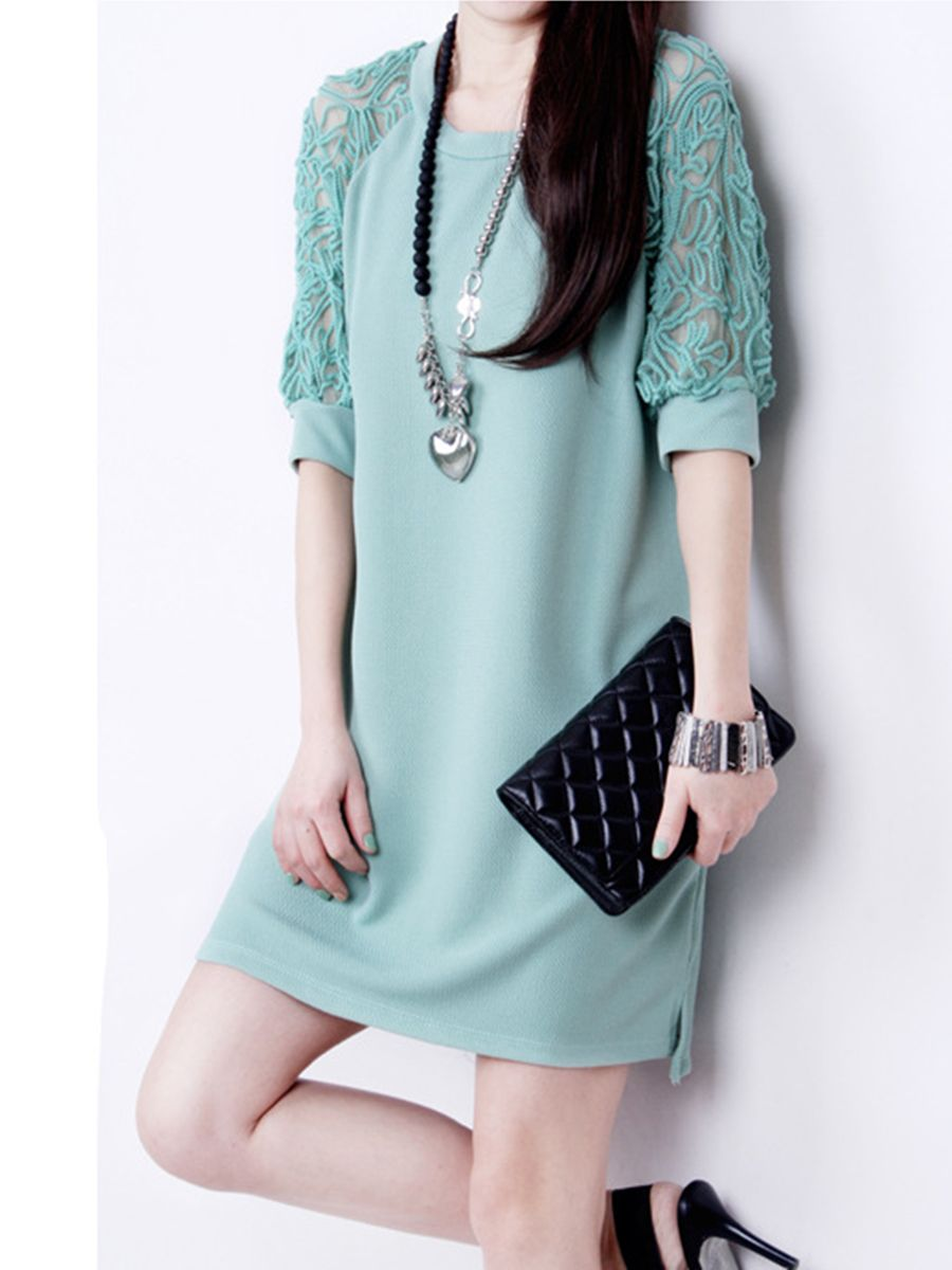 Round Neck Hollow Out Plain Shift Dress   Rounding, Dress online and ...