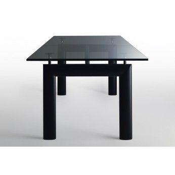 Table LC6 Le Corbusier, Table Cassina Pietement Acier Verni Noir Mat,  Finition Freine Naturel