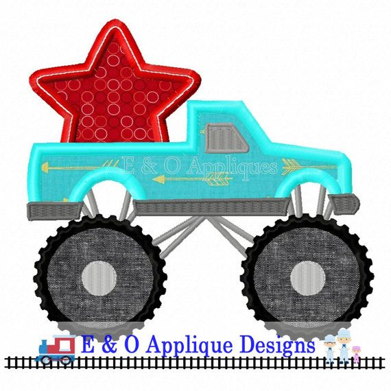 Monster Truck with Star Digital Design  4th of by EandOApplique
