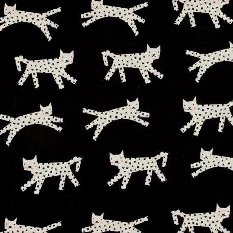 Tissu coton Cotton Steel Black and White -  Chats  x 10cm
