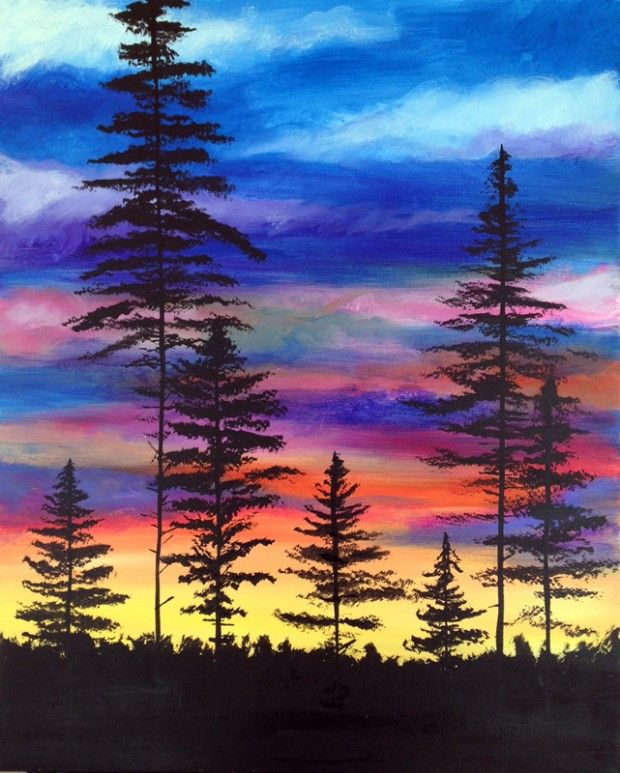 Forest Sunset 1 3 2019 Fargo Watercolor Paintings Easy