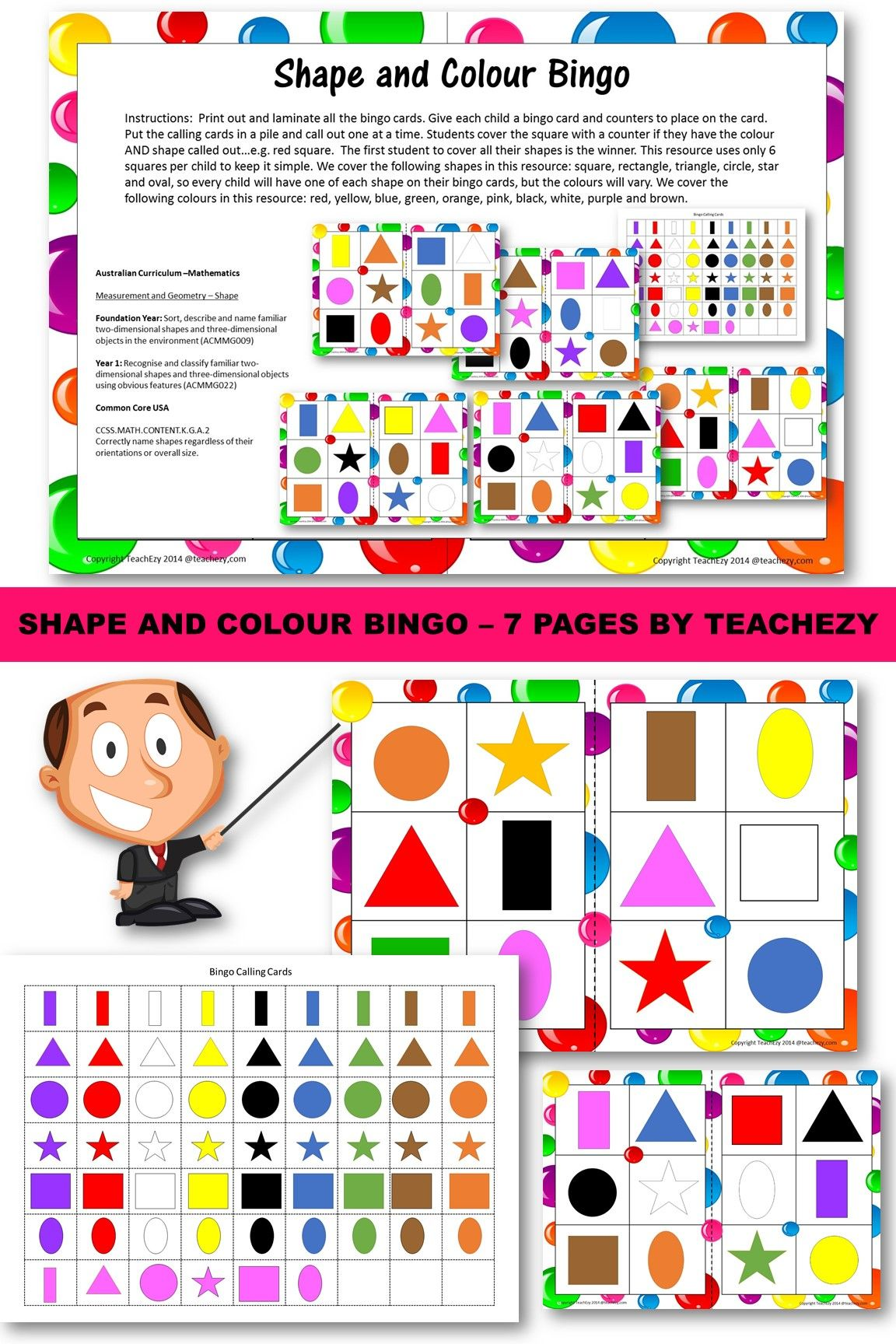 Learn About Shapes And Colours While Playing Bingo