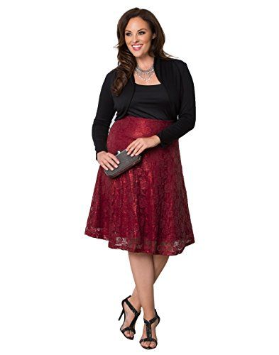 Kiyonna Womens Plus Size Limited Edition Shimmer Circle Skirt 5X Red Shimmer *** Want to know more, click on the image.