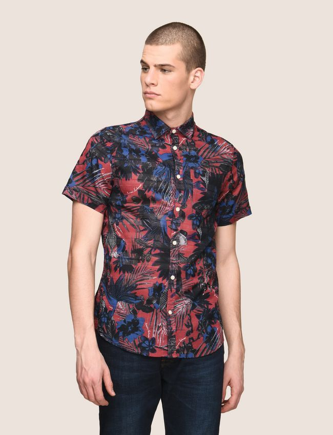 034771232e ARMANI EXCHANGE FADED TROPICAL FLORAL SHIRT Man front