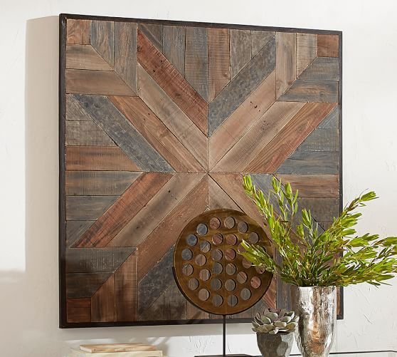 Planked Quilt Square Wall Art Square Wall Art Pottery Barn Wall