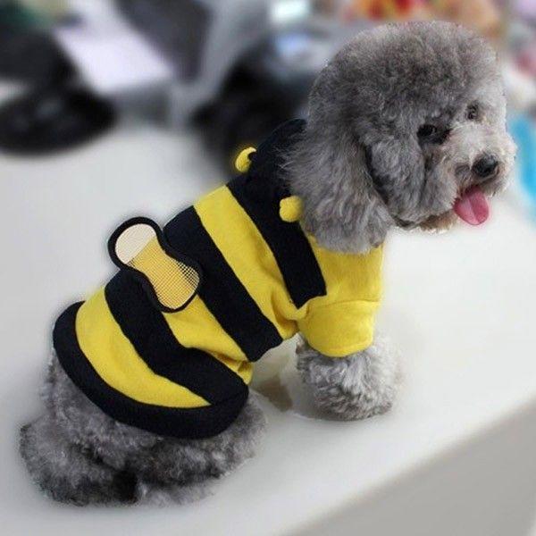 Pet Dog Cat Bumble Bee Wings Fleece Hoody Coat Costume Puppy
