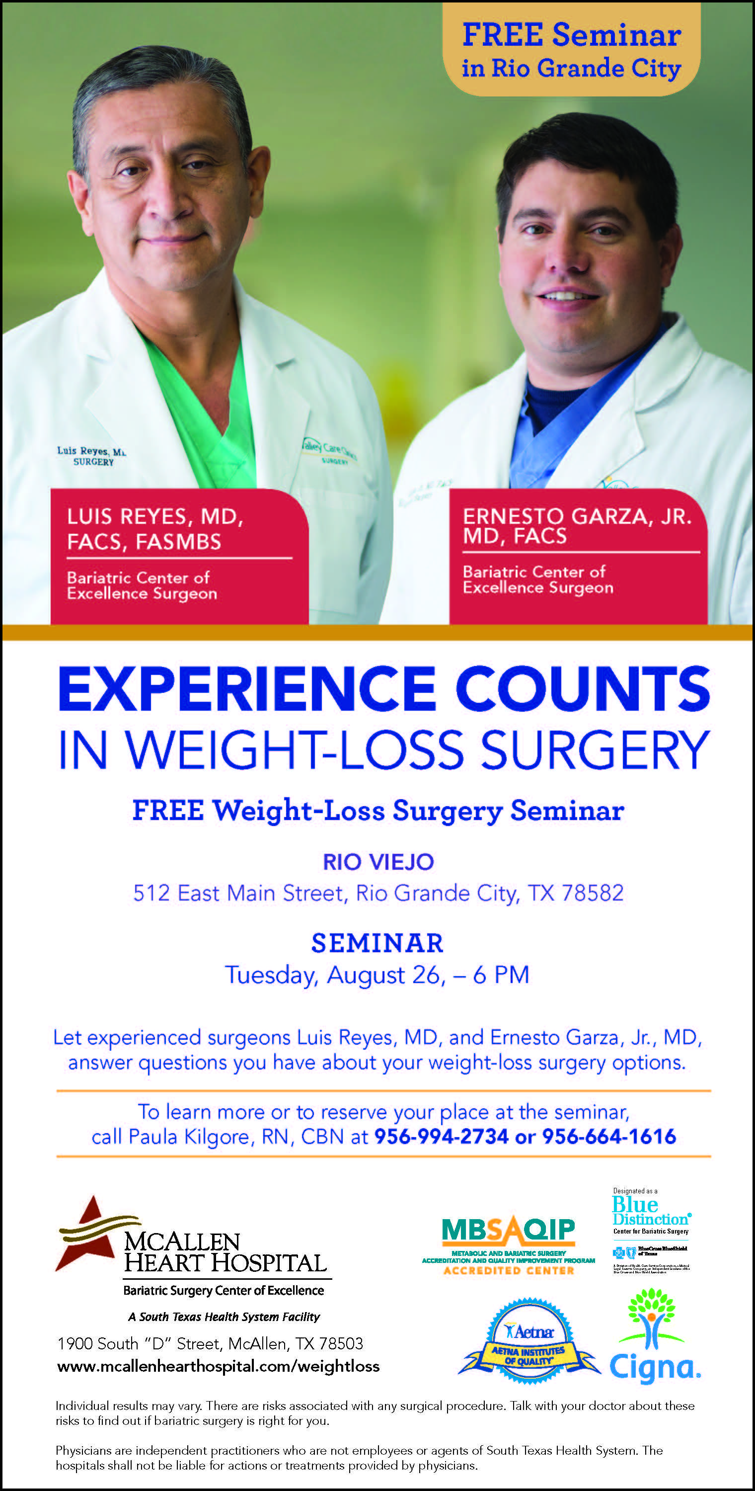 Aug 26 Free Weight Loss Surgery Seminar In Rio Grande City Texas
