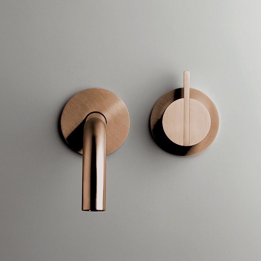 Grifo monomando para lavabo de pared de acero inoxidable de cobre pb set01 cocoon - Griferia de cobre ...