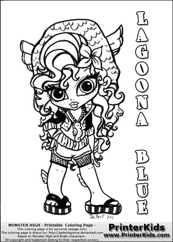 monster high lagoona blue baby chibi cute coloring page - Monster High Baby Coloring Pages