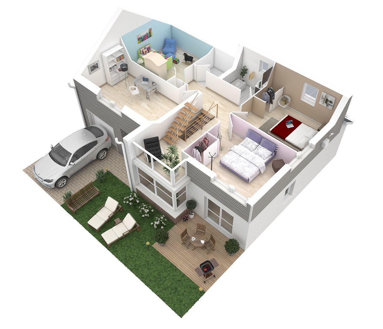pour vos plans maisons | Plan maison 3d, Plan maison etage, Plan maison 120m2