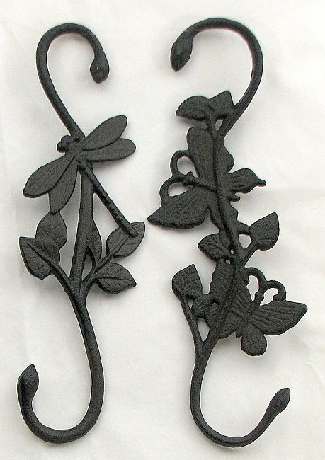 Cast Iron Dragonfly  Plant Hangers Set of 2
