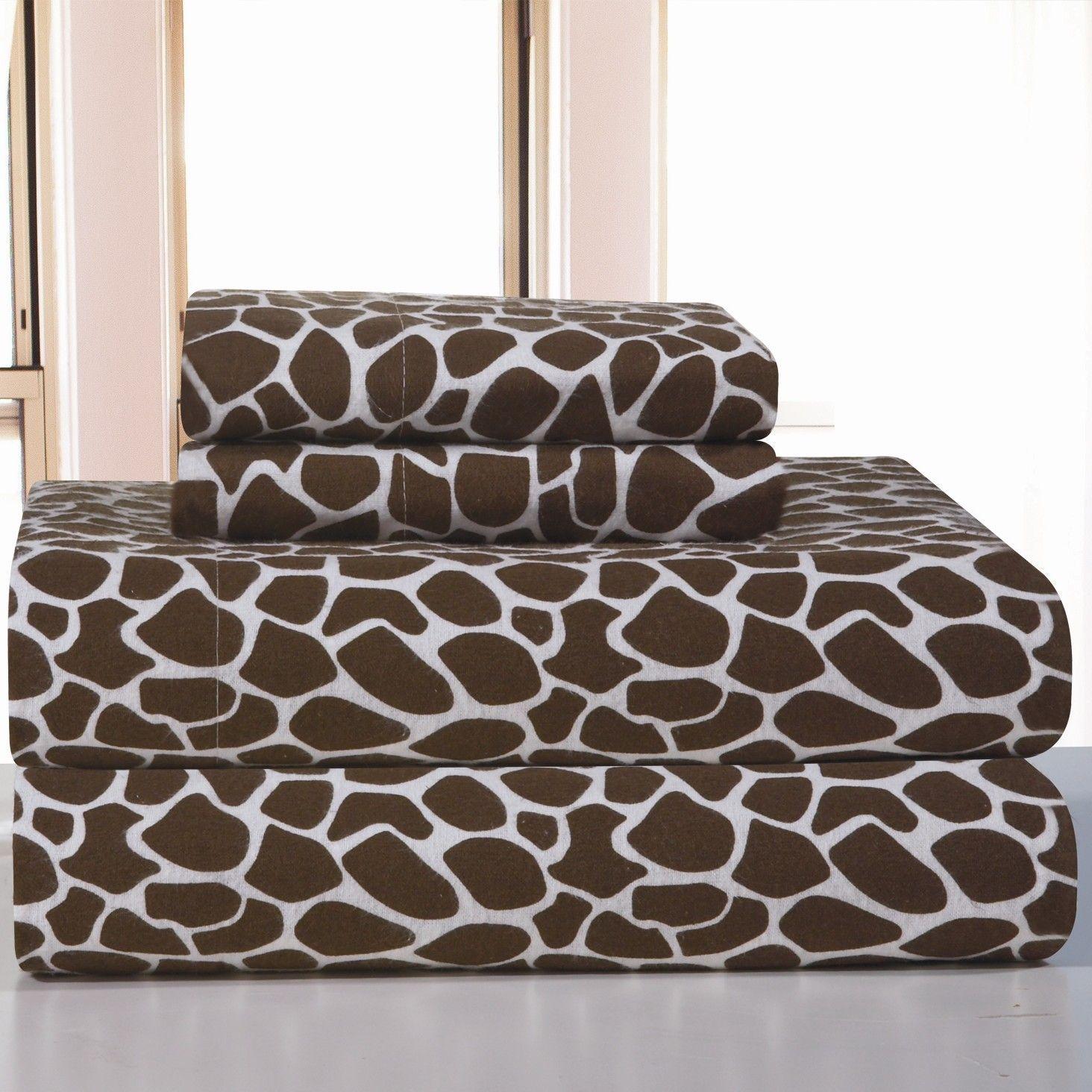 Heavy Weight Giraffe Animal Print Cotton Flannel Sheet Set Giraffe Bedding Flannel Bed Sheets Flannel Bedding