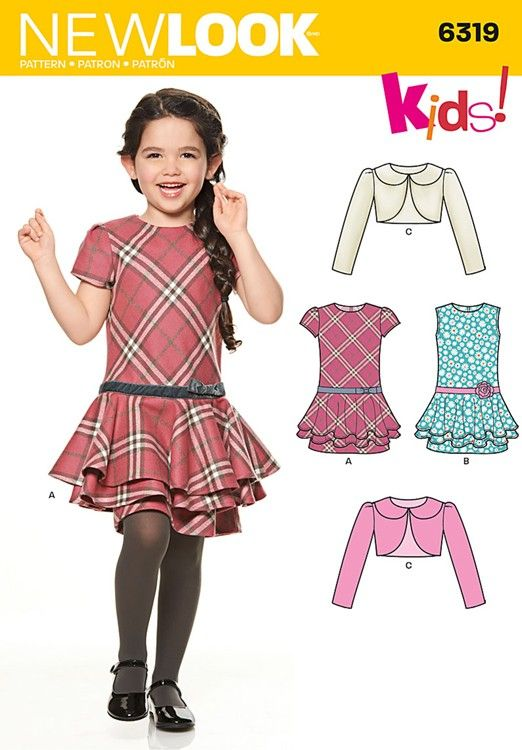 f918d713312ba1 Childs Jacket and Bias Dress New Look Sewing Pattern No. 6319. Age 3 to 8y.  | Sew Essential
