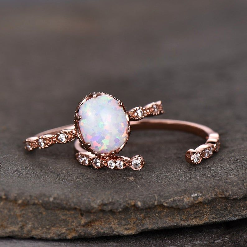 Photo of Opal Wedding Ring Set 8x10mm Oval White Fire Opal Art Deco Open Gap Matching Band Rose Gold Plated Unique Wedding Band Bridal Set