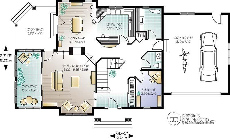 Détail du plan de Maison unifamiliale W6816 Idées novembre Pinterest