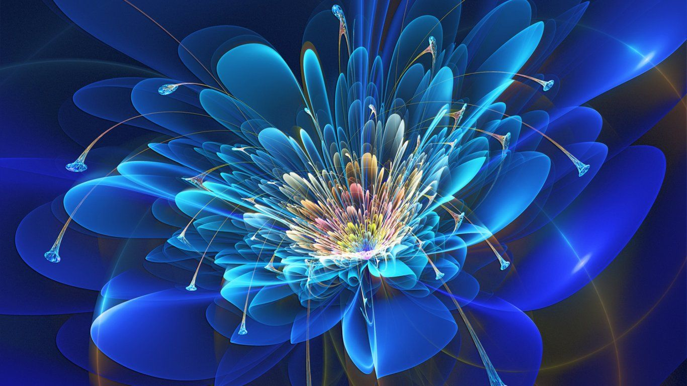 Hd Blue Abstract Flower Paintings Flower Art Ab Blue