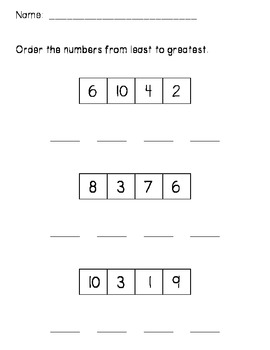 Least to Greatest - Ordering Numbers | Math Ideas ...