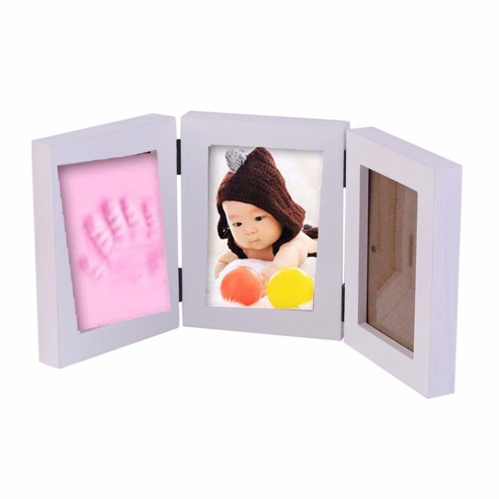 Bastante Lindo Bebé marco de Fotos DIY huella de la mano o la huella ...