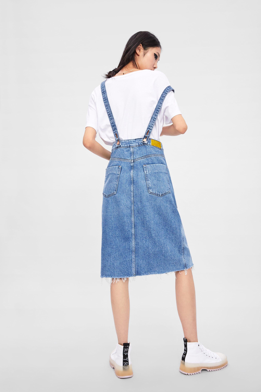 6c80946d29d88 Denim skirt with suspenders in 2019   so fly   Suspender skirt ...