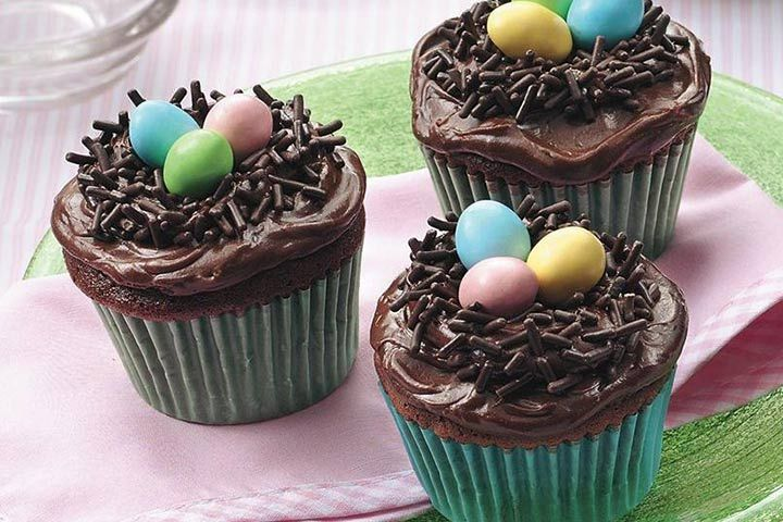 Easter Cupcake Ideas For Kids - Chocolate Nest Cupcake