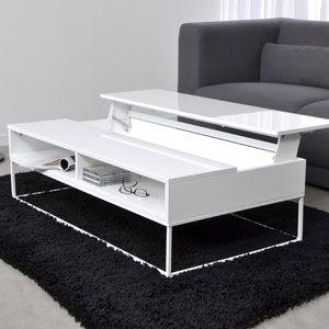 Table Basse Design Laque 1 Plateau Relevable Laura Blanc Table