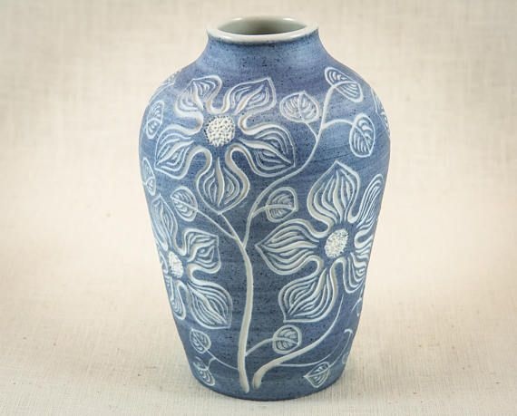 Blue Hand Carved Porcelain Vase Sgraffito Carved Vase One Of A