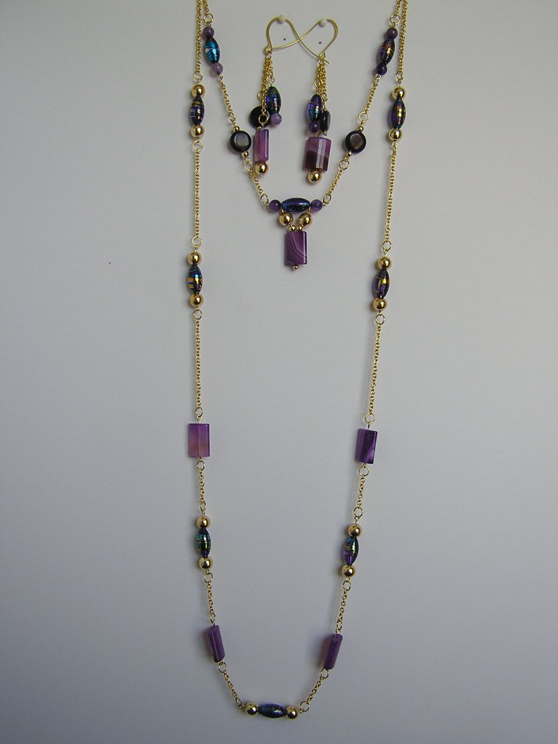 2 strand necklace and earring set in purple and gold. $15.00, via Etsy.
