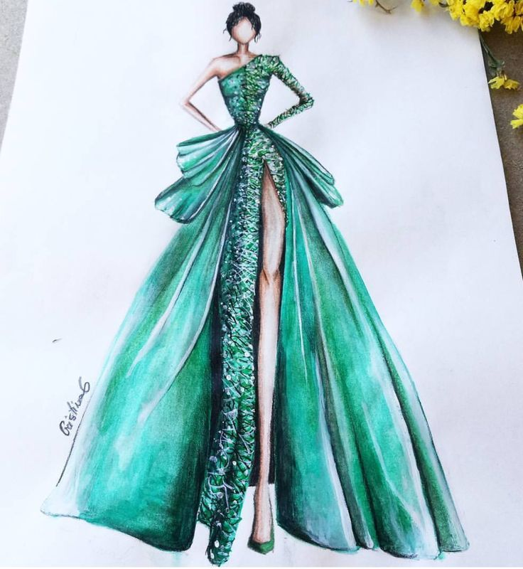 Fashionable dress sketches pictures