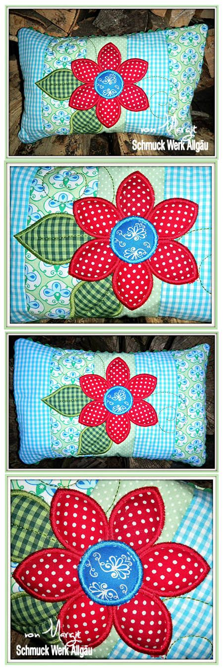 der stickb r designbeispiel flower patchwork pillow kreat v hobbi n hen kissen s kissen. Black Bedroom Furniture Sets. Home Design Ideas
