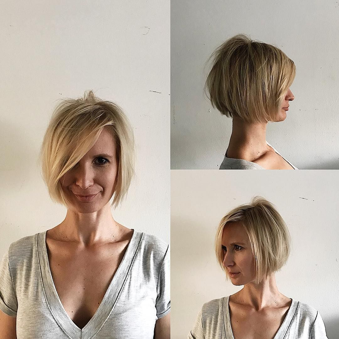 Blonde Shaped Bob With Messy Texture And Long Side Swept Bangs The Latest Hairstyles For Men And Women 2020 Hairstyleology Short Hair Styles Haircuts With Bangs Undone Hair