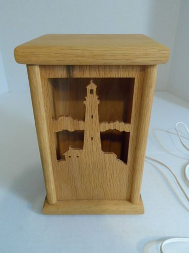 Laser Art Table Lamp Carved Wood Wooden 3 Changeable Panels Lighthouse, Bible