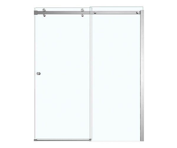 Maax | Luminescence Clear 59-In X 71-In Brushed Nickel Shower Door | Rona #framelessslidingshowerdoors