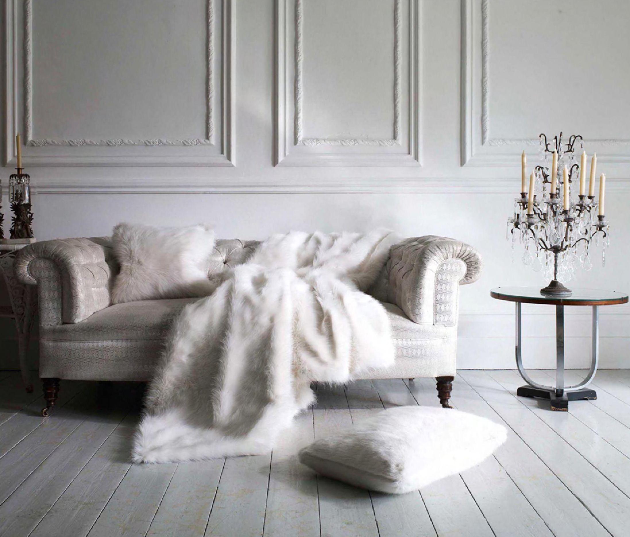 Dove Gray Home Decor Modern White Sofa With Grey Faux Fur Throws European Home Decor Grey Home Decor Modern White Sofa