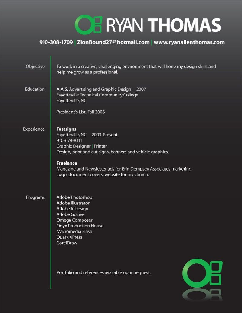 Sample Of Creative Graphic Design Resume - http://www.resumecareer ...