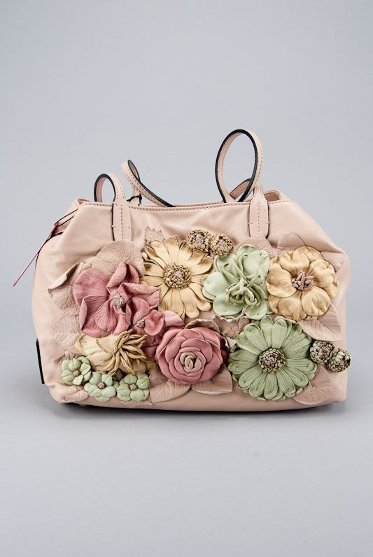 New Valentino Tan Nappa Leather Flower Applique Bag Embellished