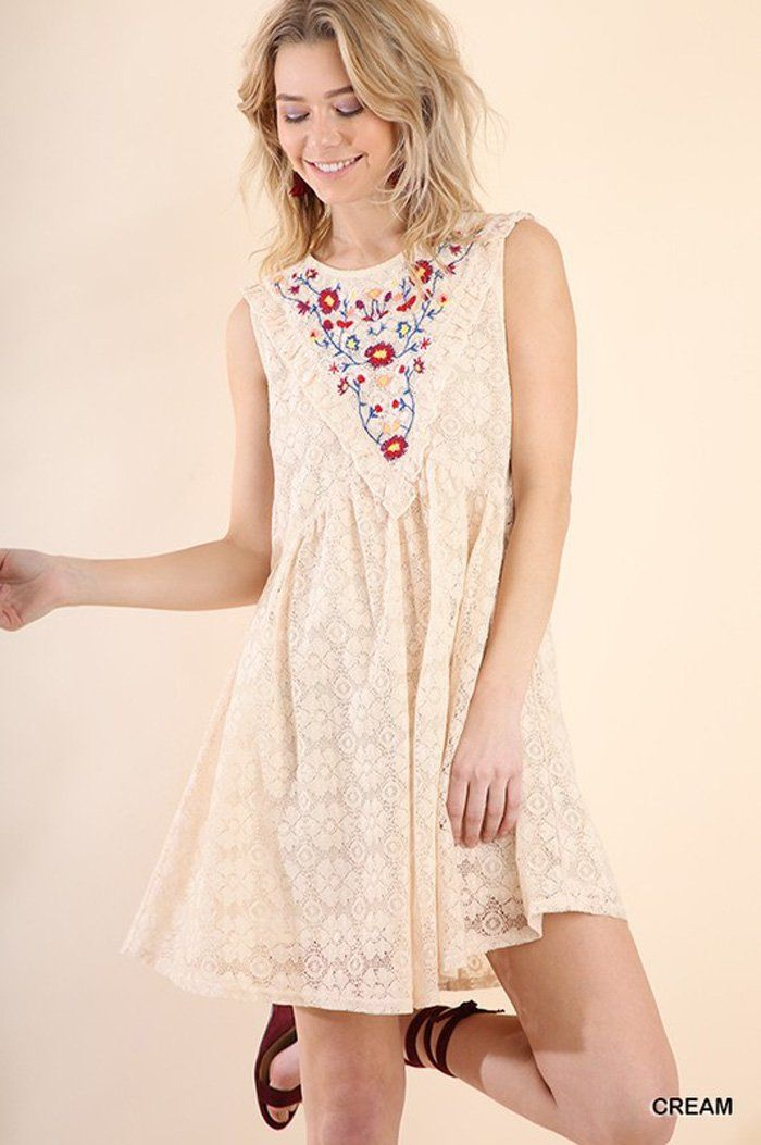 Camila Floral Embroidered Dress : Cream
