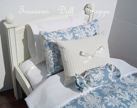 Doll Bedding - Blue Damask for 18 Inch Dolls #bearbedpillowdolls